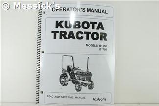Kubota: B1550 & B1750 Operators Manual - GEAR DRIVE