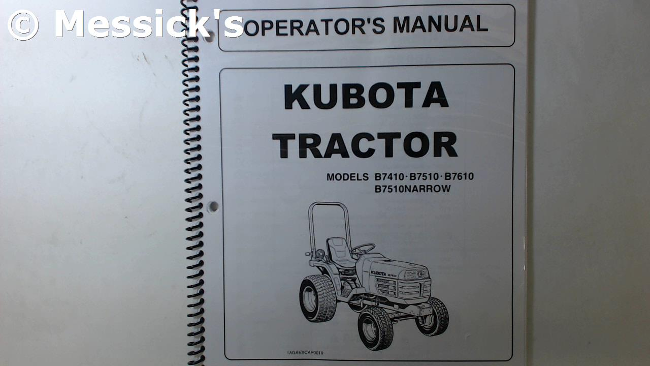 Kubota b7610 Owners manual