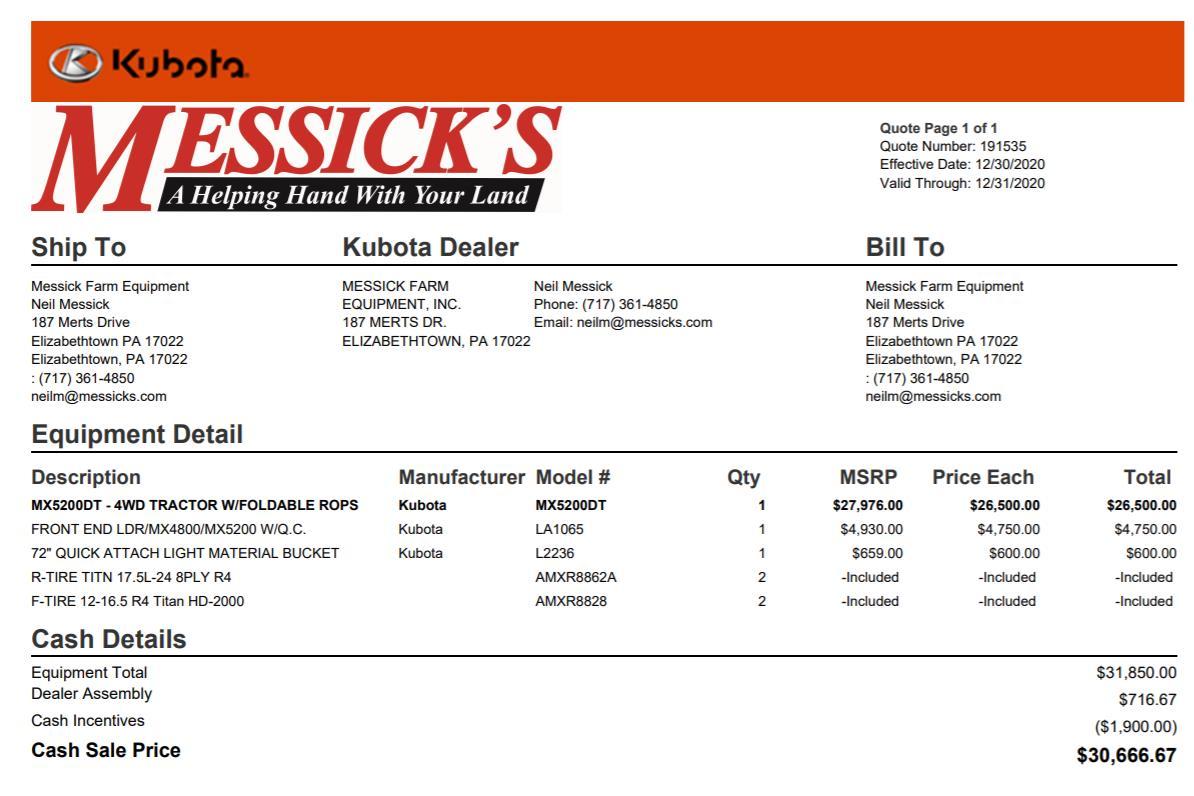Used KUBOTA MX5200DT $27,775.00